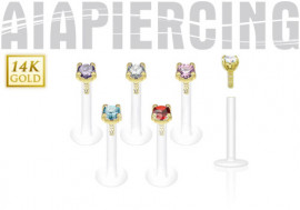 Piercing labret pierre griffée 2,5mm or jaune