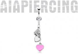 Piercing nombril acier chirurgical coeurs blanc et rose