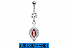 Piercing Nombril multistrass et marquise rouge