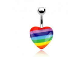 Piercing nombril cœur gay pride
