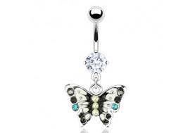 Piercing nombril papillon noir et bleu