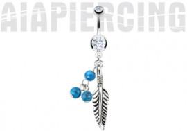 Piercing nombril blanc Plume et turquoise