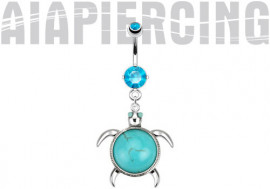 Piercing nombril acier chirurgical tortue