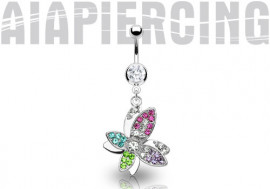 Piercing nombril papillon multicolore