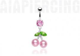 Piercing nombril cerises perles roses