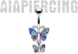 Piercing nombril duo de papillons