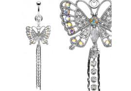 Piercing nombril papillon et pierres