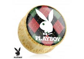 DESTOCKAGE Plug bois Playboy® lapin écossais