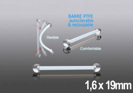 Barbell PTFE billes acrylique - 1,6 x 19mm