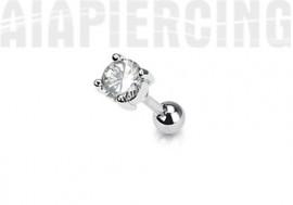 piercing cartilage : rond blanc 4mm