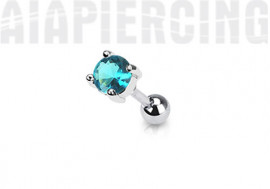piercing cartilage : rond turquoise 4mm