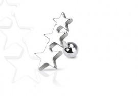 Piercing tragus et helix Triple étoile acier