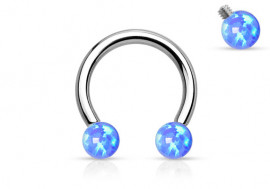 Fer à cheval perles opalites bleues
