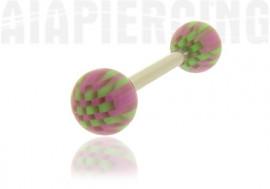 Piercing langue ou téton rose et vert
