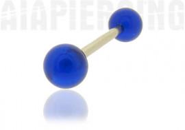 Piercing langue ou téton bille bleue
