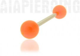 Piercing langue ou téton bille orange