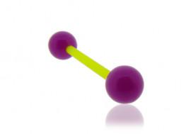 Piercing langue acrylique violet tige verte