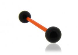 Piercing langue acrylique noir tige orange