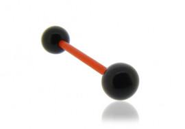 Piercing langue acrylique noir tige rouge