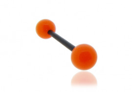 Piercing langue acrylique orange tige noire