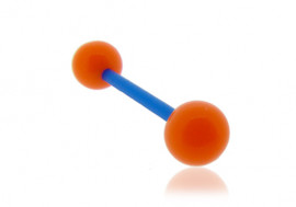Piercing langue acrylique orange tige bleue