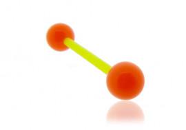 Piercing langue acrylique orange tige verte