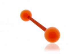 Piercing langue acrylique orange tige rouge