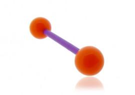 Piercing langue acrylique orange tige violette