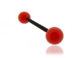 Piercing langue acrylique rouge tige noire