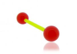Piercing langue acrylique rouge tige verte