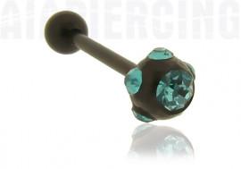 Piercing langue blackline cristaux turquoises