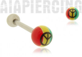 Piercing langue rasta peace and love
