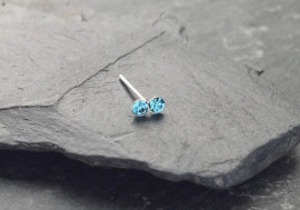 Piercing nez 2 pierres - bleu turquoise