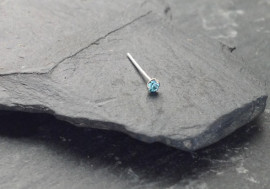 Piercing nez pierre 3 griffes - bleu turquoise