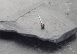 Piercing nez pierre 3 griffes - violet