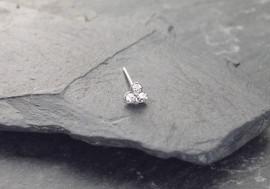 Piercing de nez Argent 3 pierres 1,5mm - blanc