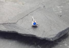 Piercing nez coeur et pierre - bleu foncé