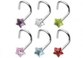 Piercing nez courbe acier et pierre étoile