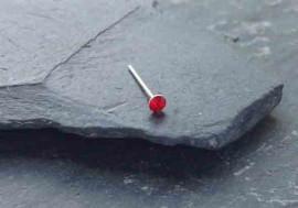 Stud argent pierre 2mm-rouge