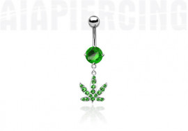 Piercing nombril cannabis vert