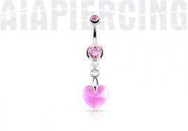 Piercing nombril coeur de cristal rose