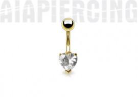 piercing nombril plaqué or coeur blanc