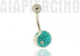 piercing nombril ying yang bleu turquoise
