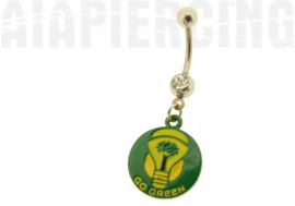 "DESTOCKAGE Piercing nombril ""go green"" ampoule"