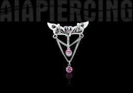 Piercing nombril inversé pendentif pierres roses