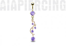 Piercing nombril plaqué or cascade pierres violettes