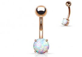 Piercing nombril plaqué-or rose et opale