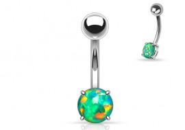 Piercing nombril acier opale verte
