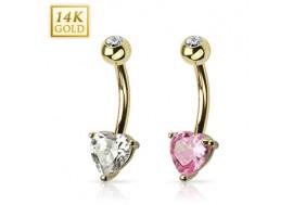 Piercing nombril coeur 5mm et cristal clos
