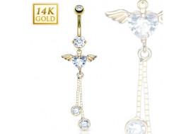 Piercing nombril coeur ailé et ronds pendants